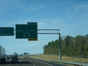 Passing this exit, I got the urge to give up my life of RVing and become a shrimp boat captain.