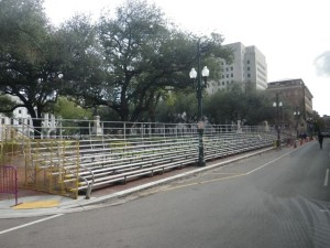 These bleachers are for the Mardi Gras parades.