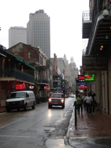 Bourbon Street! It wasn't raining, but threatening to. The sky was spitting.