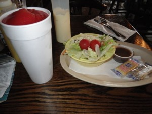 I ordered a giant strawberry daiquiri for $3. I don't think there was any alcohol in it. It was very refreshing! The meal came with a salad. Yeah for veggies!