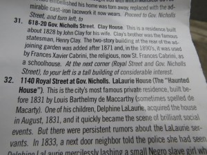 Info on the walking tour pamphlet about the LaLaurie house where Delphine LaLaurie was discovered to be treating her slaves badly.