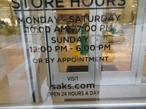 Saks 5th Avenue is open by appointment. I doubt I can afford to shop there. :)