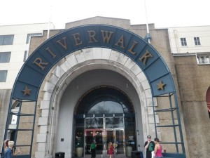 Entrance to the Riverwalk shopping centre.