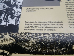 This sign claims that NOLA has a special budget for removing alligators' from people's yards....