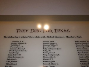 List of the men who were killed in the Goliad Massacre.