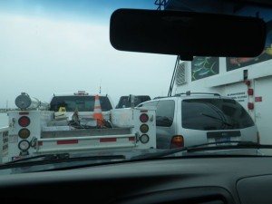 VERY tight squeeze on the ferry.