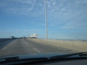 Driving over the big bridge in Corpus Christie.