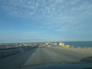 Coming off the big bridge in Corpus Christie.