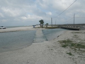 The rickety crabbing bridge.
