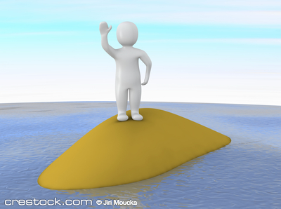 Man waving on small island. 3d rendered illust...