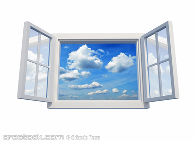 Window open to the sky isolated on white backg...