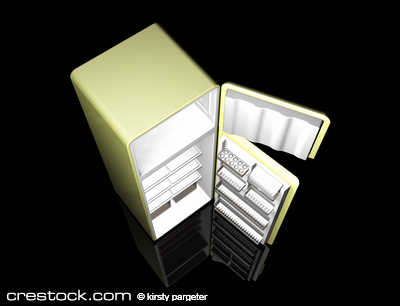 3D render of a modern fridge